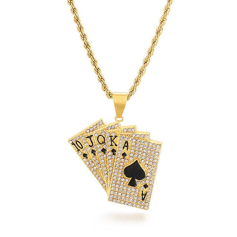 Ace Of Spades Mens Necklace Gold Poker Pendant For Male Stainless Steel