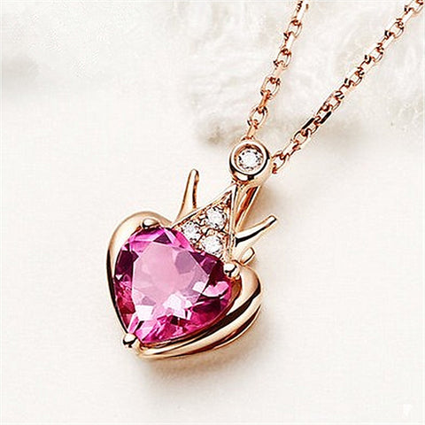 Moon Red Rhinestone Crown Wing Heart Card Captor Necklace For Women