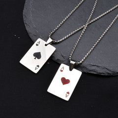 Ace of Spades Heart A Mens Stainless Steel Necklace