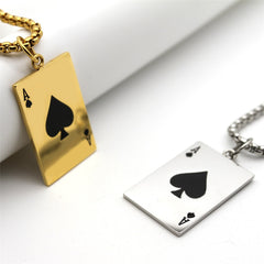 Lucky Ace Of Spades Men Statement Playing Card Poker Pendant Necklace