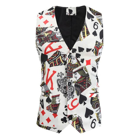 Vests for Men Slim Fit Casual Poker Printed Sleeveless Jacket