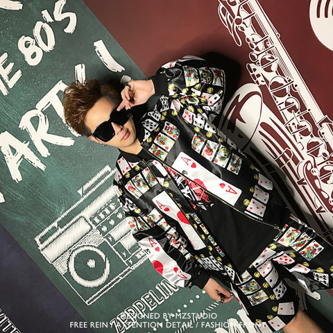 Poker Baseball Jacket Men Fashion Shorts Suits