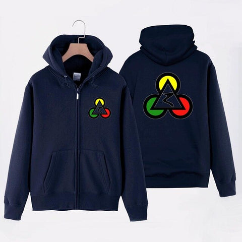Triangle Poker Spade Man Boy Coat Full Zip Hoodie Fleece Hooded Jacket