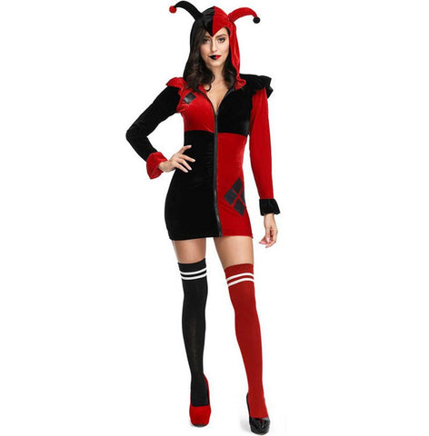 Black-red Poker Circus Clown Costume