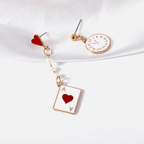Girl fantasy clock poker cute earrings
