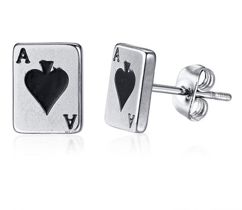 Poker Card Earrings Stud For Women Stainless Steel Spade Playing Card