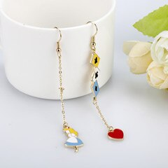 Women's Earring Anime Cute Enamel Alice Wonderland  Asymmetric Earrings