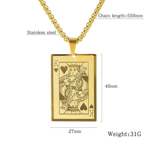 Fashion Poker K Men's Necklaces Geometric Pendant Playing Cards