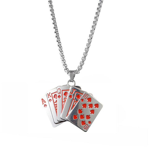 Hip Hop Flush Poker Gambling Long Pendants Necklace