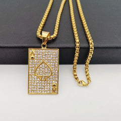 Bling Bling Full rhinestones poker Spade pendant necklace