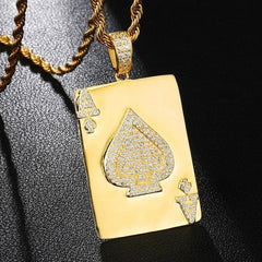 iced out bling poker pendant necklaces AAA