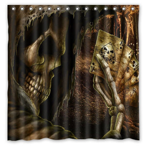 Poker Skull Waterproof Eco-friendly Washable Bath Curtains With Rings