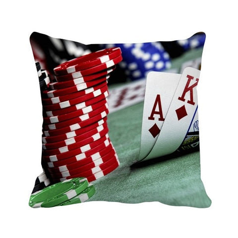 Scattered Poker Gambling Photo Chips Throw Pillow Square Cover