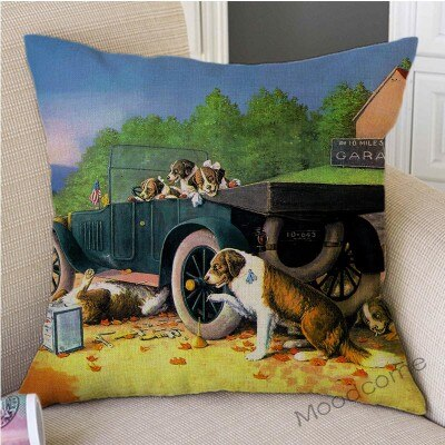 Cassius Marcellus Coolidge Dogs Poker Games Ironic Modern Art Sofa Pillow Cover