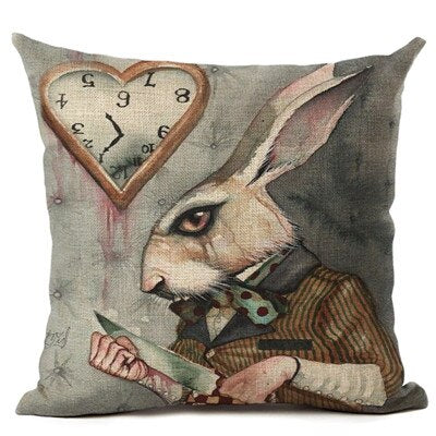 Vintage Cushion Cover Illustration Cushion Rabbit Praiser in Poker