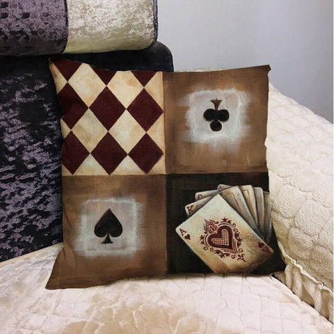 Poker King Queen and Jack Decoration Home Decorative Pillow Sleeve