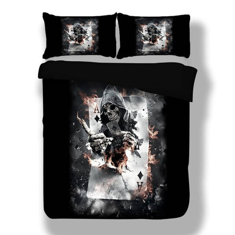 Skull Poker Duvet Cover Set 3D Printed Gothic Queen King Size Bedding Set