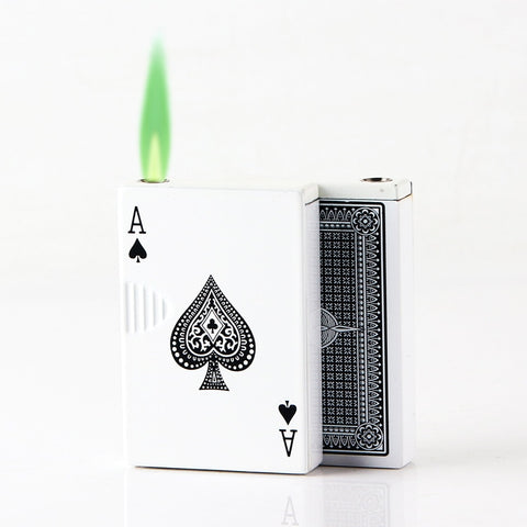 Inflatable Lighter Creative Poker-Shaped Flame Metal Lighter