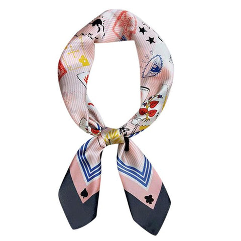 Poker Scarf Portable Small Silk Feel Formal Square Neck Scarf