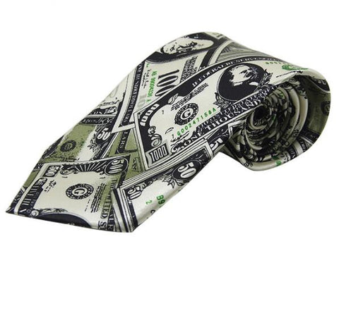 1pcs Fashion Unique Greenback Pattern Ties with Poker Patterns