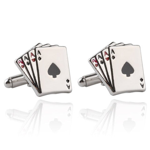 4 A Poker Playing Card Design Pin Tie Clip Cuff Links Set Zinc Alloy Metal Cufflinks Clasp Tie Bar Set For Men