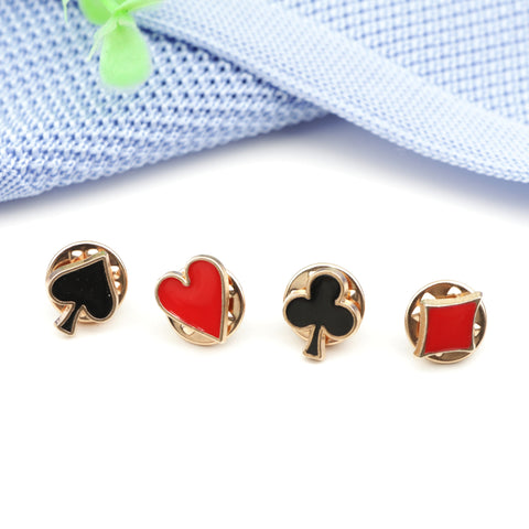 Set of 4pcs Novelty Popular Poker Themed Lapel Pin