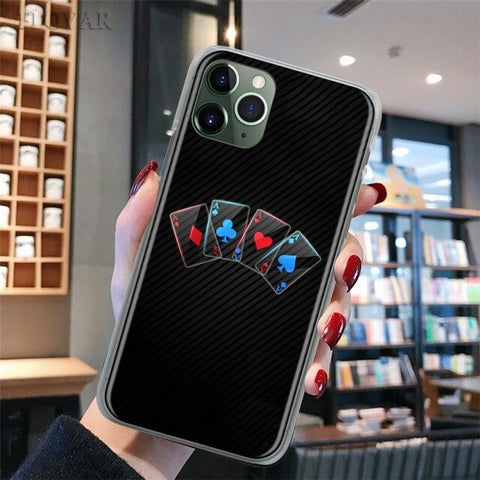Poker Play Cards Phone Case for iPhone 11 Pro 7 8 XR SE 2020 X XS MAX 11 Pro MAX 7+ 8+ 6 6s Plus 5S Hard Cover