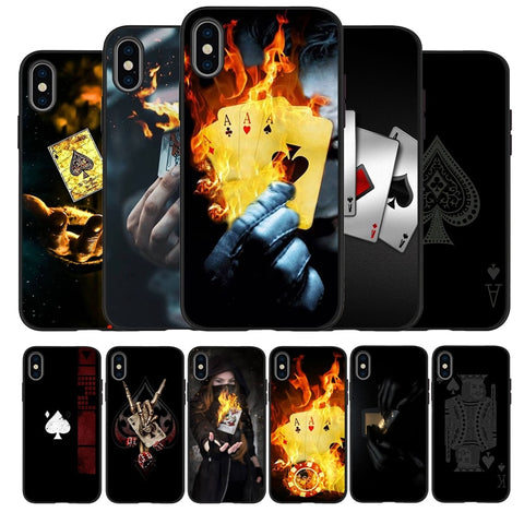 Poker Black TPU Silicone Soft Phone Case For iPhone