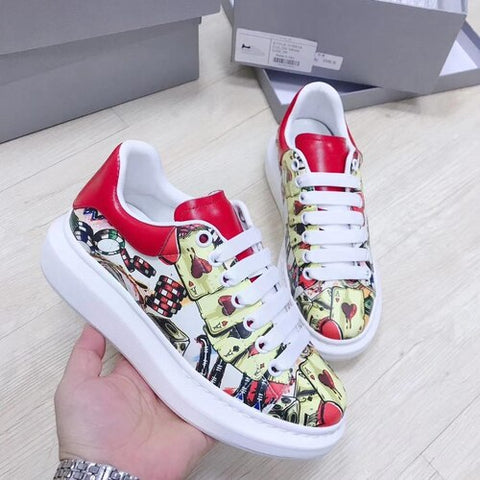 Poker Pattern Graffiti Printing Genuine Leather Thick Heel Platform Women Casual Shoes