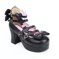 Gothic Shoes Alice in Wonderland Poker Series High Heel Bowtie Shoes