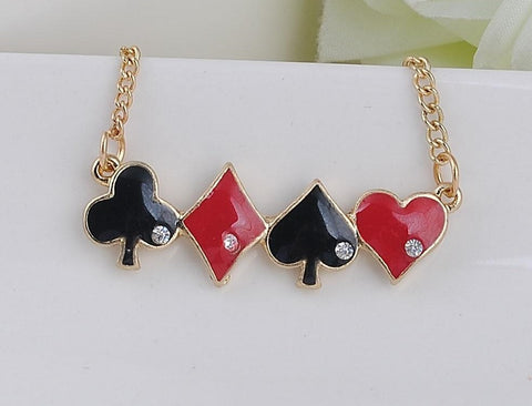 Chain Necklace  Poker Heart Spade Club Charm Red Black Women
