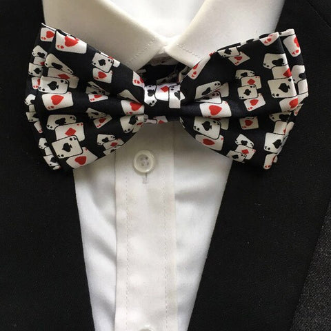 10 Pcs/Lot Men Poker Bowties Play Cards Pattern Printed Bow Ties