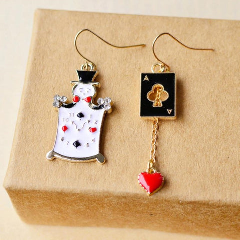 Creative Alice Poker Cardinals Fashion Personality Popular Fresh Cute Handmade Female Gift Earrings - casinomegastore