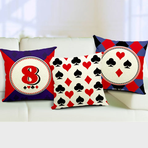 High Quality Invisible Zipper Linen Home decorative cushion Poker playing cards shape design Cushion pillowcase - casinomegastore
