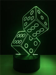 3D Casino Dice Illusion Color Changing Table Lamp 3D Remote Control - casinomegastore