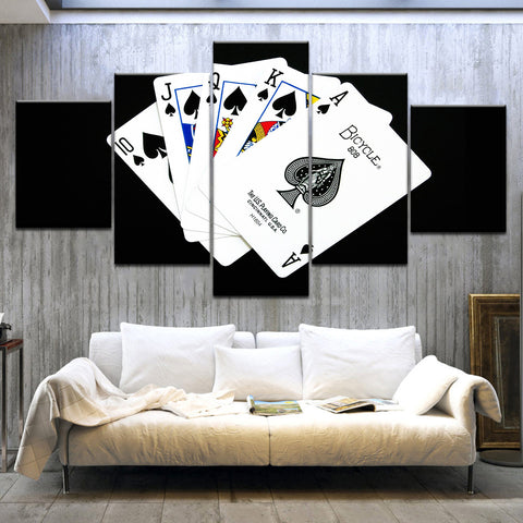 BOLD! 5 Panel Playing Cards Casino Wall Art Home Decor Canvas Royal Flush - casinomegastore