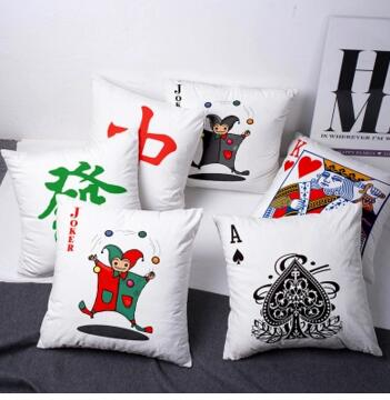 Creative Mahjong Pillow Case Fortune Red Whiteboard Poker Cushion Cover