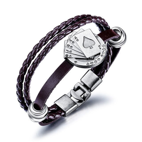 Classic Poker Black/Coffee Weave leather Bracelets