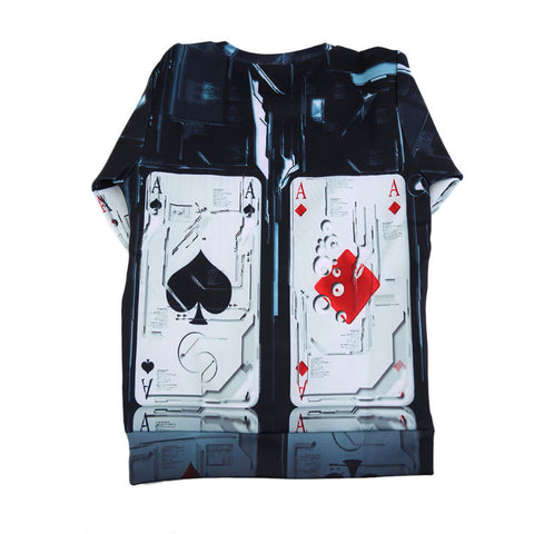 Trendy O-Neck Poker Card Printed Long Sleeve Cotton Shirt - casinomegastore