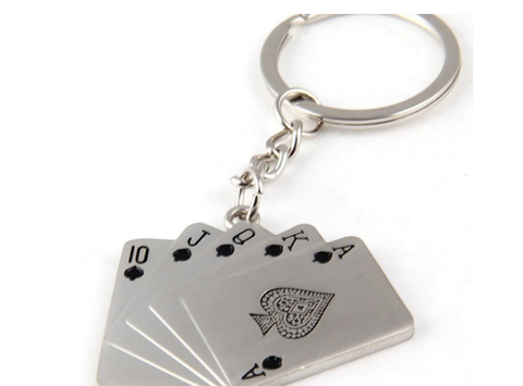 Creative Poker Flush Metal Car Key Chain Charm Trinket Key Holder - casinomegastore