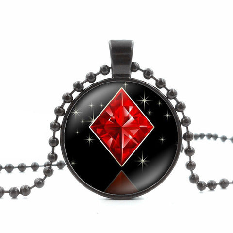 Poker BlackJack  Style Glass Cabochon Pendant Necklace Women Jewelry - casinomegastore