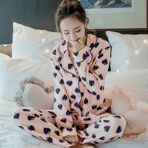 Poker Spade Printed Knitted Cotton Pyjamas Women - casinomegastore
