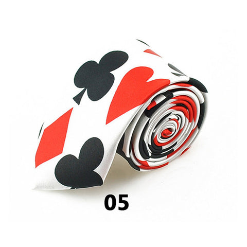 Smart! Playing Cards Poker Pattern Party Polyester Woven Classic Men`s Neck Ties - casinomegastore