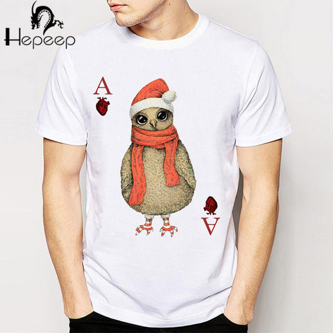 Novelty Poker Pattern Printed Wolf Casual T-Shirt - casinomegastore