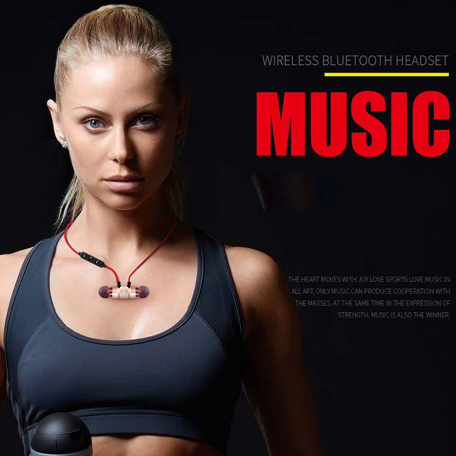 Earphones Wireless Bluetooth V4.1 Earpiece Outdoor Sport Metal Magnetic Necklace