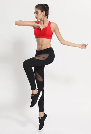 Leggings High Waist Patchwork Mesh Pants Stretch for Workout Gym