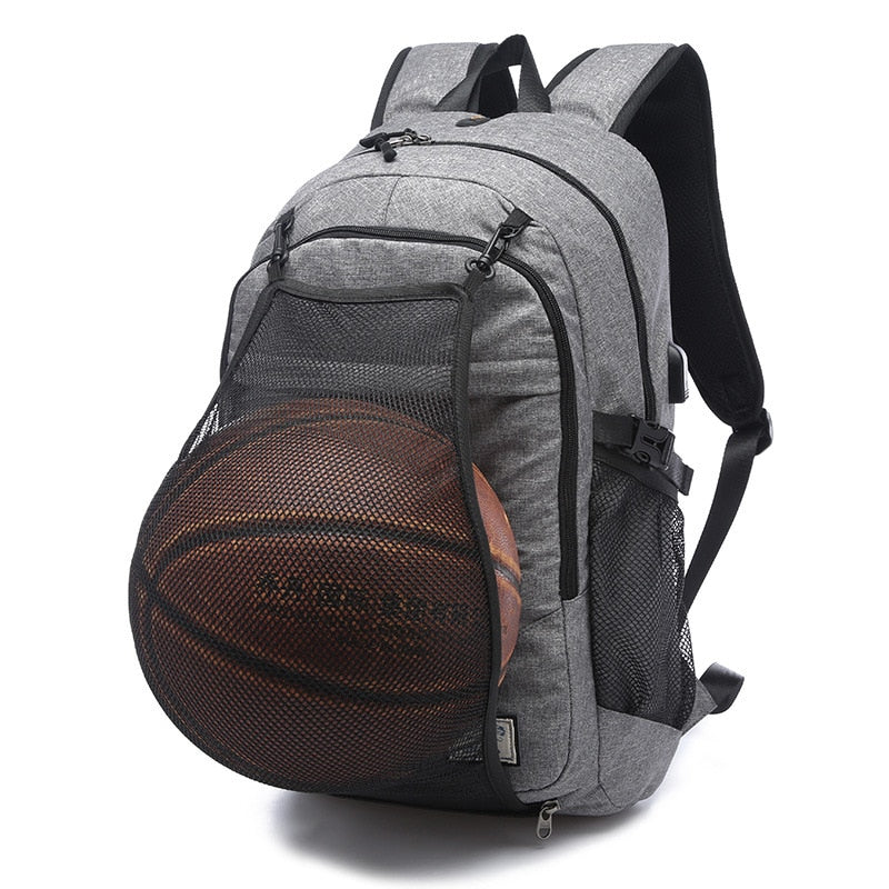 Bag Backpack Usb Laptop Waterproof Basketball Net Sport Ball Canvas Gray Black