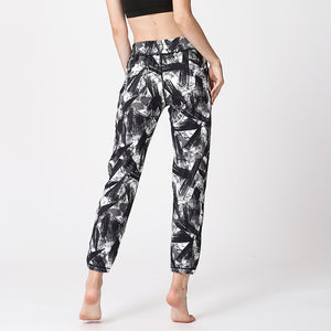 Pants Casual Printed Trousers High Waist Loose Leggings with Lace