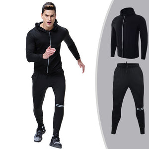Men Set Sports Tracksuit Zipper Hooded Sweatpants Gym Training Fitness Set 2pcs
