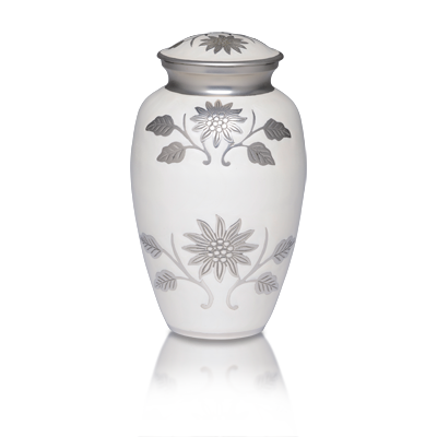 Cremation urns with flowers. Made with white enamel over nickel plated brass.